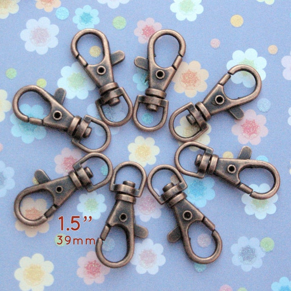 5 Pieces Lobster Swivel Clasps - 1.5 inch / 39mm (available in nickel, antique brass, gun metal, gold, copper, antique copper finish)