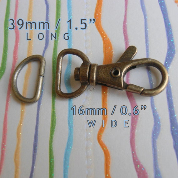 5 Sets 1.5 Inch Swivel Clips with Matching D Ring (available in Antique Brass Finish)