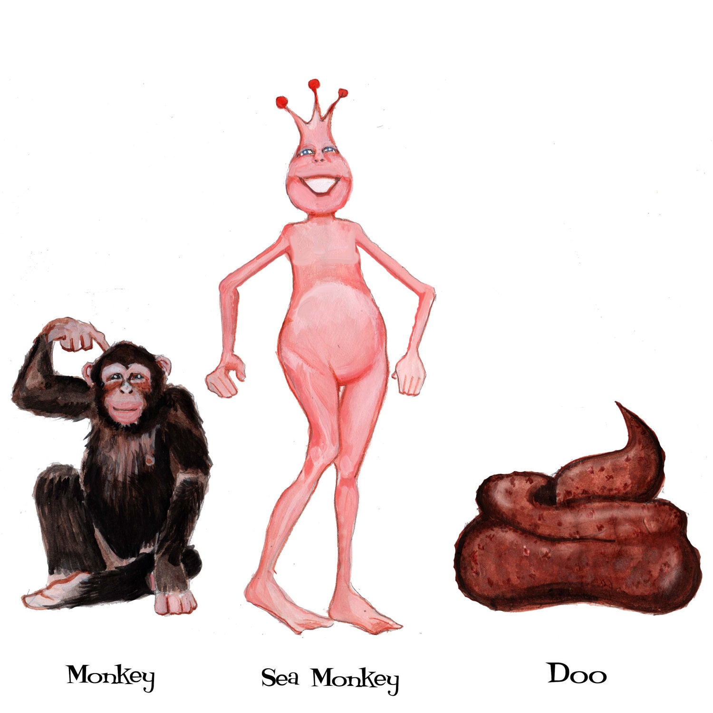 monkey sea monkey doo greeting card by glenillustrates2 on