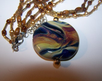 Beautiful Raku Lampwork Glass Tabular Beaded Necklace