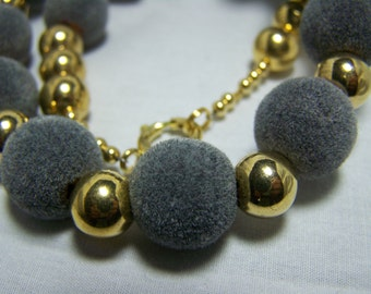 VIintage 15mm  Fuzzy Balls-Remember When 20 inch Necklace