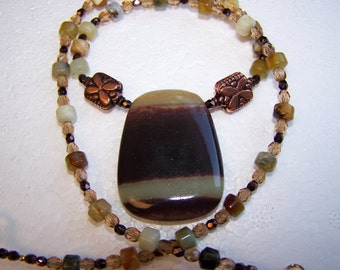 Butter Jade-Lovely 20 inch Jade and Serpantine Necklace