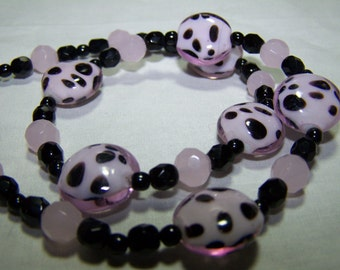 PINK DALMATION-LAMPWORK Glass 18 inch Necklace-Soooo Cute