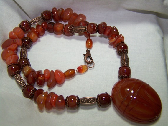 CLEOPATRA'S NILE-18 3/4 inch-Red Agate SCARAB Pendant Necklace