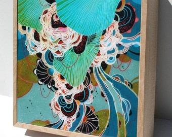 Swirl - Resin-Coated Print on Wood Panel