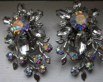 Judy Lee Signed Clip-On Vintage Rhinestone Earrings