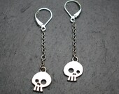 RESERVED for sithlet- Skull comix sterling silver drop earrings- made to order