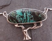 Silver tree necklace, natural turquoise and sterling silver, Ancient blue pine cloud tree necklace