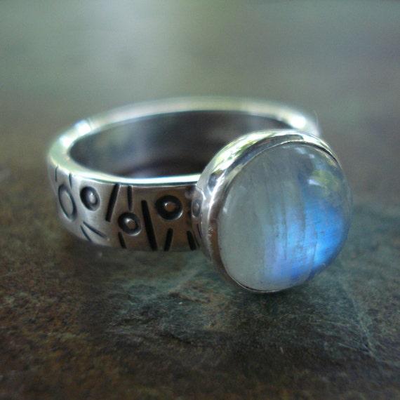 Moonstone symbols sterling silver ring