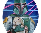 PRINT Boba Fett with Fuzzy Bunny created from original acrylic on canvas Painting