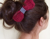 Handknit Hair Bow in Raspberry