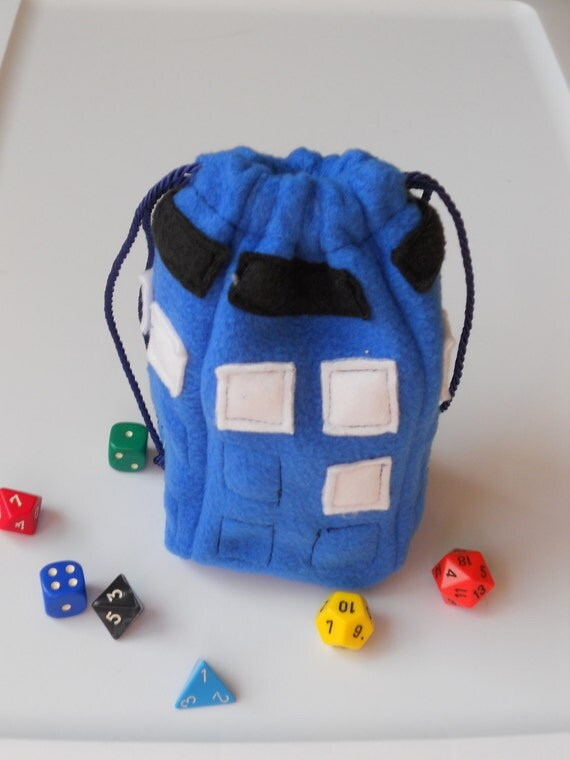 Doctor Who Tardis Dice Bag: Solid Blue Pouch