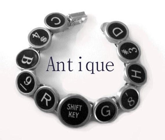 Basic Black Vintage Typewriter Key Bracelet Shift Key
