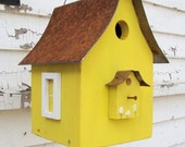 Bird House Garden Decor Birdhouse Recycled Rustic Metal Roof Lemon Yellow