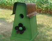 Rustic Cottage Birdhouse Decorative Garden Wood Bird House Simple and Sweet Lime Green