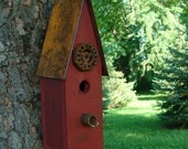 Old Red Rustic Birdhouse Decorative Wood Bird House Garden or Home Decor Recycled Industrial Cottage Farmhouse