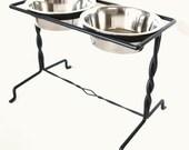 Elevated Dog Feeder, Modern Dog Feeder, Feeding Stand,  Industrial Dog Feeder, Hand Forged Iron Pet Feeder Custom