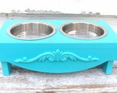 Dog Bowl Holder Elevated pet Feeder Raised Feeding Station Dog Dish Painted Dog Furniture Beach Cottage Marine Aqua Blue