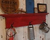 Coat Hooks, Wall Shelf, Rustic Towel Hook, Coat Hook Rack, Entryway Decor, Bathroom Decor, Shelf, Custom