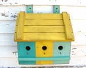 Storage Wall Box Organizer Mailbox or Birdhouse Yellow Aqua  Marine Sea Blue Shabby Cottage Chic