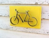 Metal Bike Wood Sign Wall Art Sculpture Office Home Decor Cottage French Country Beach Yellow