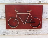 Bike Wall Art Iron Sculpture Bicycle Dorm Decor Office Home Decor Red Frame Bike Gifts