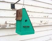 Rustic Bird House, Outdoor Birdhouse, Decorative Birdhouse, Bike Chain Perch, Green