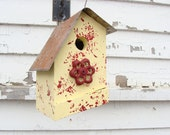 Rustic Yellow Birdhouse Recycled Red Faucet French Country Shabby Cottage Chic