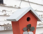 Decorative Birdhouse, Home and Garden Birdhouse, Metal Flower, Wood Birdhouse, Coral and Grey - baconsquarefarm