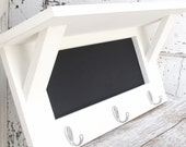 Chalkboard Shelf, Coat Hook Shelf,  Key Hook Rack, Wall Decor, Home Decor, Childrens Decor, White Cottage Chic Modern Rustic