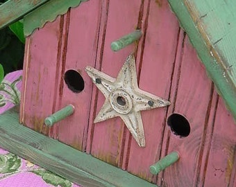 Cottage Birdhouse Pink Bird House Rustic Birdhouses