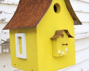 Rustic Birdhouse Yard and Garden Art Bird House Cottage Beach Garden Decorative Birdhouses Lemon Yellow