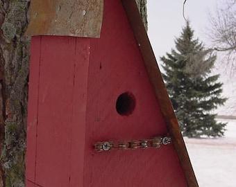 Rustic Birdhouse, Bird House, Outdoor Birdhouse, Functional Bird House, Red Bike Chain Perch House