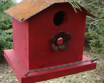 Rustic Birdhouse, Decorative Bird House, Unique Birdhouse, Metal Flower Accent, Wood Bird House, Cottage Birdhouse,  Red
