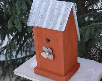 Recycled Birdhouse, Decorative Birdhouse, Wooden Birdhouse. Functional Birdhouse, Industrial Chic
