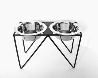 Modern Pet Feeder Bowl Holder Feeding Stand Elevated Dog Feeder Blacksmith Forged Iron Custom