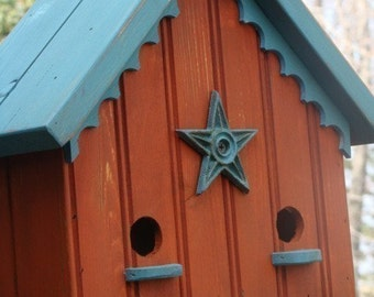 French Country Birdhouse Decorative Outdoor Bird House Functional Orange and Turquoise