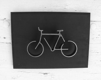 Metal Bike Wall Art Sign Bicycle Wall Hanging Home or Office Decor Groomsman Gift Modern Black