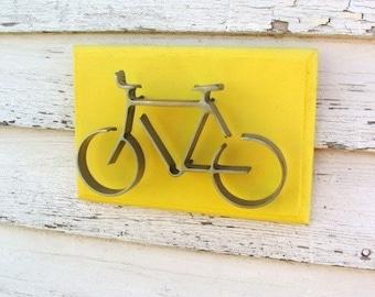 Metal Bicycle on Wood Frame Gift for Biker Modern Wall Art Decor Lemon Yellow