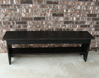 Rustic Bench, Coffee Table, Entryway Bench, Storage Bench, French Cottage Bench Modern Bench Custom Black