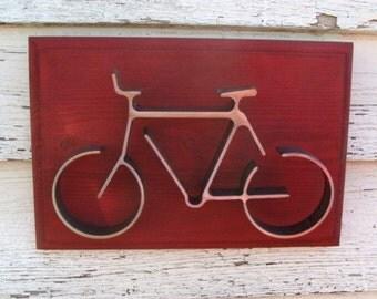 Bike Wall Art, Wall Art, Cyclist Gift, Bicycle Decor, Metal Bike Art