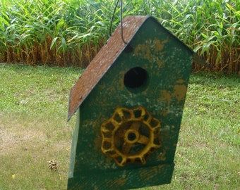 Rustic Birdhouse Wood Bird House Outdoor Birdhouses Vintage Accent Grass Green and Yellow