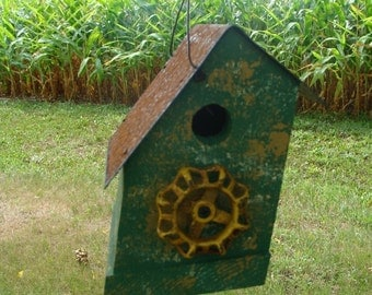 Rustic Birdhouse Decorative Bird House Vintage Accent Grass Green and Yellow