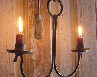 Primitive Candle Lighting, Hanging Candle Holder , Wall  Candle Lighting, Metalwork Candle Holder, Handmade, Forged by Blacksmith