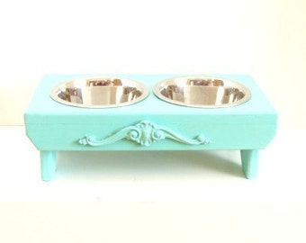 Feeding Stand, Elevated Dog Feeder, Bowl Holder, Pet Furniture, Aqua Blue Beach Cottage French Country