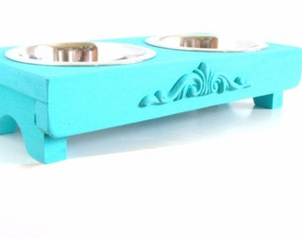 Cat Bowl or Small Dog Feeder Beach Cottage Home Decor Painted Pet Furniture Marine Sea Blue