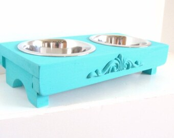 Cottage Blue Bowl Holder Cat Feeder Small Dog Bowls French Beach House Pet Furniture Custom