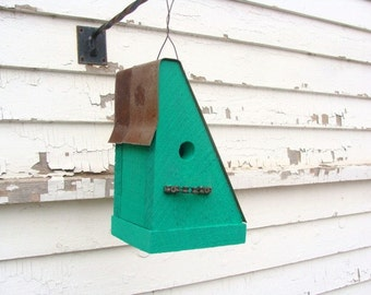 Rustic Bird House, Outdoor Birdhouse, Decorative Birdhouse, Bike Chain Perch, Green