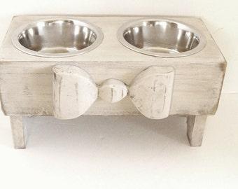 Elevated Dog Feeder, Dog Bowls, Raised Dog Feeder, Dog Feeder, Cat Bowls, Elevated Dog Bowls, Gift for Pet Lover, Custom, Antique White