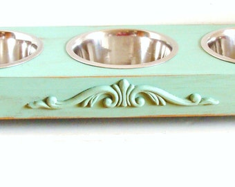 3 Bowl Feeder, Bowl Holder, Dog Feeder, Cat Bowl,  Elevated Feeder, Feeding Stand, Aqua Beach Cottage Decor